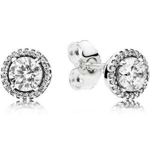 Authentic Pandora Round Sparkle Stud Earrings