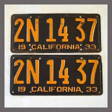 1933 California License Plates Pair DMV Clear YOM Original