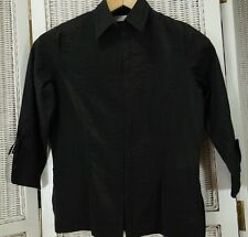 "TED BAKER Overblouse 36"" Bust Blouse Black Cotton-Blend Shirt Hook Front Top"