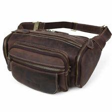 Vintage Men Work Leather Bum Waist Fanny Pack Shoulder Bag Travel Sling Backpack
