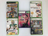 5 GAME VIDEO GAME MIX LOT XBOX XBOX 360 ZUMBA FITNESS MADDEN 09 DJ HERO AND MORE