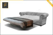 SOFA BED CHESTERFIELD Brand New Imperial 3 Seater Sofa Bed Fabric Grey Cream