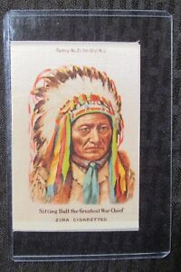 "1910 SITTING BULL Greatest War Chief 3.25x5"" Zira Cigarettes Silk VG+ 4.5"