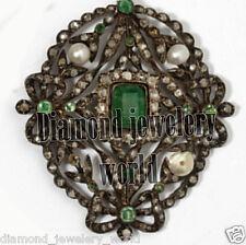 Silver Artdeco Estate Brooch Jewelry 5.75cts Rose Cut Diamond Gemstone Studded