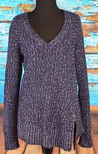 Anthropologie SZ L MOTH Women's V-neck Asymmetric Knit Sweater with Side Zipper