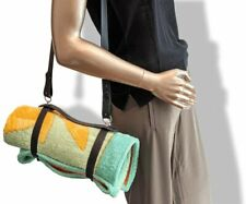 Hermes Vintage Harness Leather Beach Towel/Picnic Blanket Plaid Carrier, New !