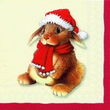 4 x Single Paper Table Napkin/Decoupage/Christmas/Bobble Hat Bunny/Owl/Bear