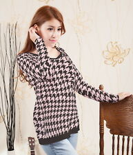 Houndstooth Women Layered Look Racerback Top Shirt Blouse b35 acr03314
