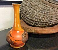 "Royal Haeger Marked Earth Wrapped 3 Layer Glaze Mid-Century 7 1/4"" Vase"