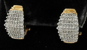 10K 2-tone gold amazing 1.74CTW diamond cluster curved earrings