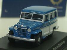 BOS Willys Jeep Station Wagon, blau-weiß - 87010 - 1/87
