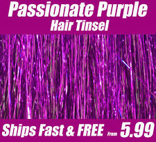 HAIR TINSEL, Hair extensions Shiny Passionate Purpl 100 Strands Salon Grade SILK