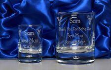 LASER Engraved Jager Bomb WEDDING Glass Gift Set in Silk Box For Best Man/Usher