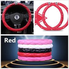 "38cm 15""Car Steering Wheel Cover Red PU Leather Rhinestone Crystal Diamond Crown"