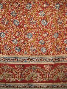 "Veggie Dye Block Print Curtain Drape Panel Cotton 46"" x 84"" Red"