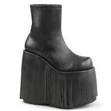 Mens Black Fringe Platform KISS Gene Simmons Boots Costume Shoes size 11 12 13