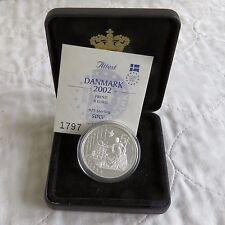Danimarca 2002 Argento Prova Piedfort 5 EURO ESSAI PATTERN-boxed/COA