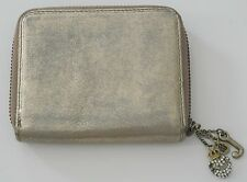 Gold Juicy Couture Zippered Bifold Wallet with Charms, 4.5 x 3.75 in
