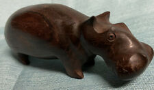 Hand Carved Dark Wood Hippopotamus Hippo Sculpture Wooden Art Figurine