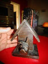 Chien Scottich Terrier & niche boite porte ancienne brosse à habit Bois sculpté