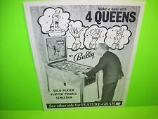 Bally 4 QUEENS 1970 Original Flipper Game Pinball Machine Promo Sales Flyer