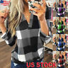 Plus Size Women's V-Neck Plaid Tee Tops Ladies Casual Long Sleeve Blouse T Shirt