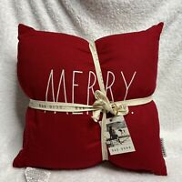 NEW Rae Dunn BRIGHT and MERRY Throw Pillow Set