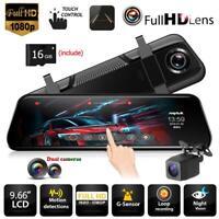 Anytek T12+ 9.66'' HD 1080P Dual Lens Car Rearview Mirror DVR Camera Dash Cam