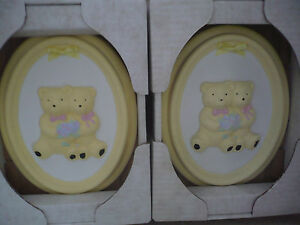 TWO WONDERFUL TEDDY BEAR WALL PLAQUES IN BOXES A SUPERB ITEM