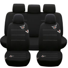 10 Part Butterflies Embroidered Car Seat Covers Set for Auto Car Headrest Covers