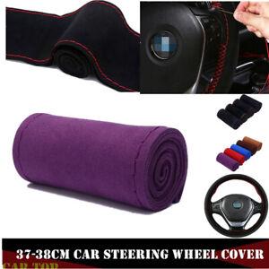 Purple Auto 38cm Leather DIY Car Steering Wheel Cover Scrub w/ Neddle and Thread