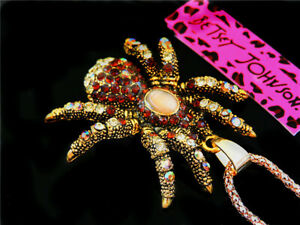 New Betsey Johnson Crystal Brown Spider Pendant Sweater Chain Necklace