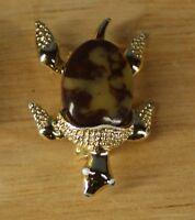 Vintage Gerry's Turtle Goldtone Brown Stone Pin Brooch