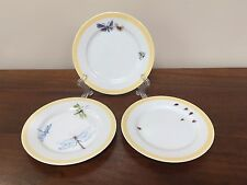 "William Sonoma BUGS & BUTTERFLIES 6 ½"" Appetizer Plates ~ Set of 3"