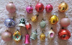 Anciennes boules en verre de Noël sapin Vintage Christmas panier cloche fraise