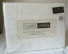New White Classic Living Jacquard King Duvet Cover Set 370 Thread Count 100% Ct
