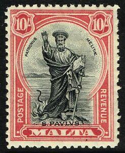 SG 209 MALTA 1930 - 10/- BLACK & CARMINE - MOUNTED MINT