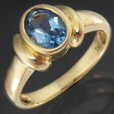 Oval Sculpted Bezel Set Solid 9k Yellow GOLD Blue TOPAZ SOLITAIRE RING Sz J