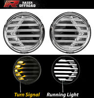 Chrome+Clear lens+Turn Signal LED+DRL Running Light for 07-17 Jeep Wrangler JK