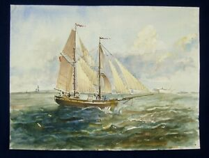 Handpainted Watercolour Brigantine on Rough Sea by Peter Luscombe Unframed #121