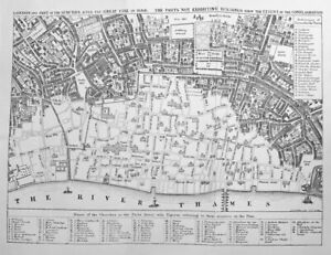 CITY MAP OF LONDON AFTER GREAT FIRE OF 1666 ~ Old 1858 Art Print Engraving RARE!