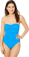 La Blanca Blue Rouched Front Bandeau One Piece Swimsuit Women's Size 4 16404