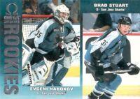 1999-00 Pacific Omega #212 Evgeni Nabokov Brad Stuart San Jose Sharks RC