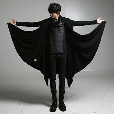 Men's Casual Jacket Black Designer Gothic Cardigan Shawl Long Trench Coat Capes