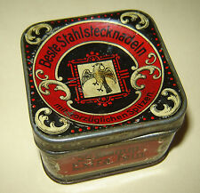 ANTIQUE German Old Vintage Tin Litho Box for Sewing Pins Needles