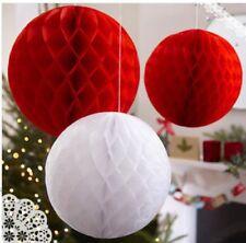3 x WEDDING CHRISTMAS Red White 10cm & 30cm PAPER HONEYCOMB BALLS DECORATIONS