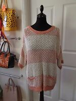 Size 16 Cable Knit Jumper by TU in Pink/White Striped with Gold Thread Detail