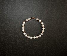 "Genuine Cultured White Pearl 8"" Single Strand Bracelet 7 mm 14K Gold Clasp Beads"