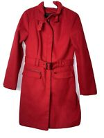 M & CO Coat Red Long Lined Belted Size UK 10