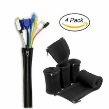 "Cable Cord Organizer,4 Pack 20"" Cable Concealer from YaFex,Black Cable Organizer"